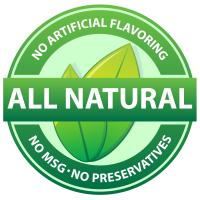 all natural, no preservatives, No msg, no artificial flavoring, no anti-caking agents