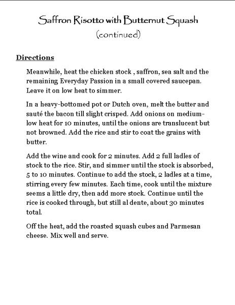 Saffron Risotto with Butternut Squash (continued)