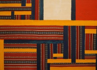 Interwoven oil and Bedouin textile on canvas painting by Sabrina Puppin