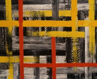 Interwoven oil and Gutra textile on canvas painting by Sabrina Puppin