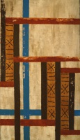Interwoven oil and African Mud Cloth textile on canvas painting by Sabrina Puppin