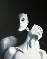 black and white female portrait oil on cardboard painting by Sabrina Puppin