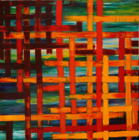Interwoven oil on canvas painting by Sabrina Puppin
