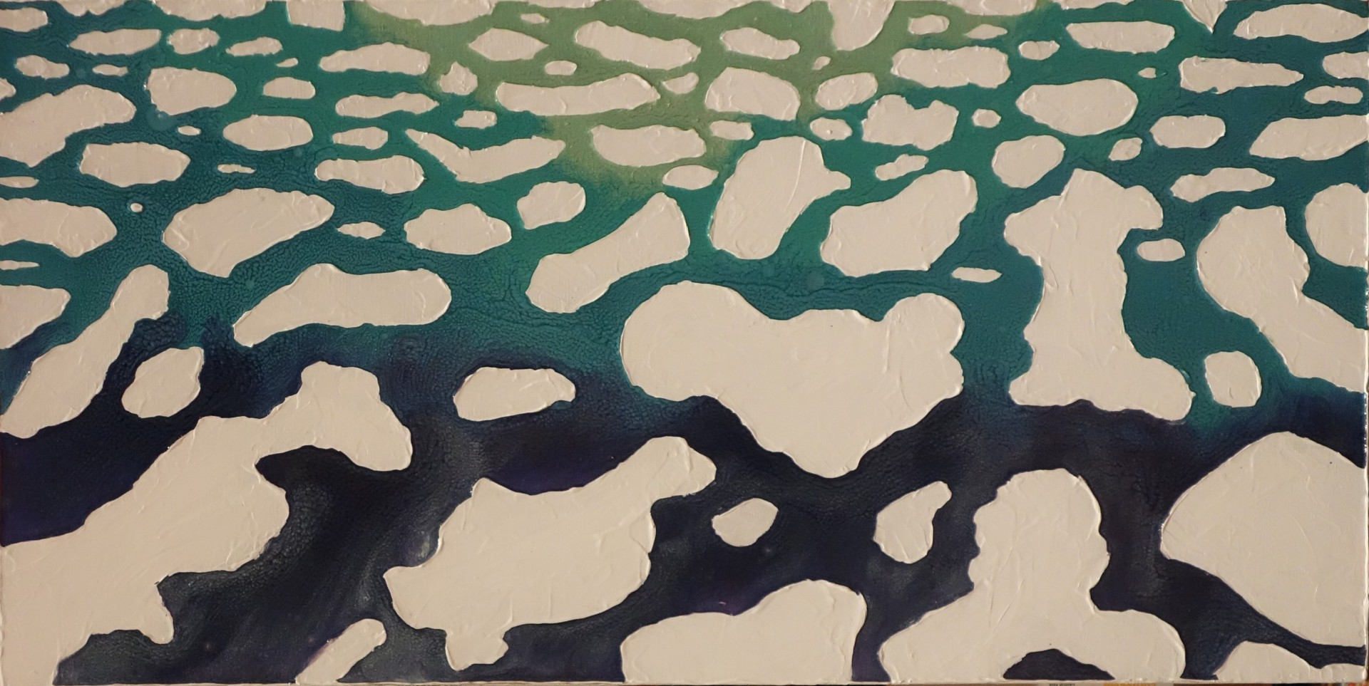 Ice Floe Isolation enamel and gesso on canvas painting by Sabrina Puppin