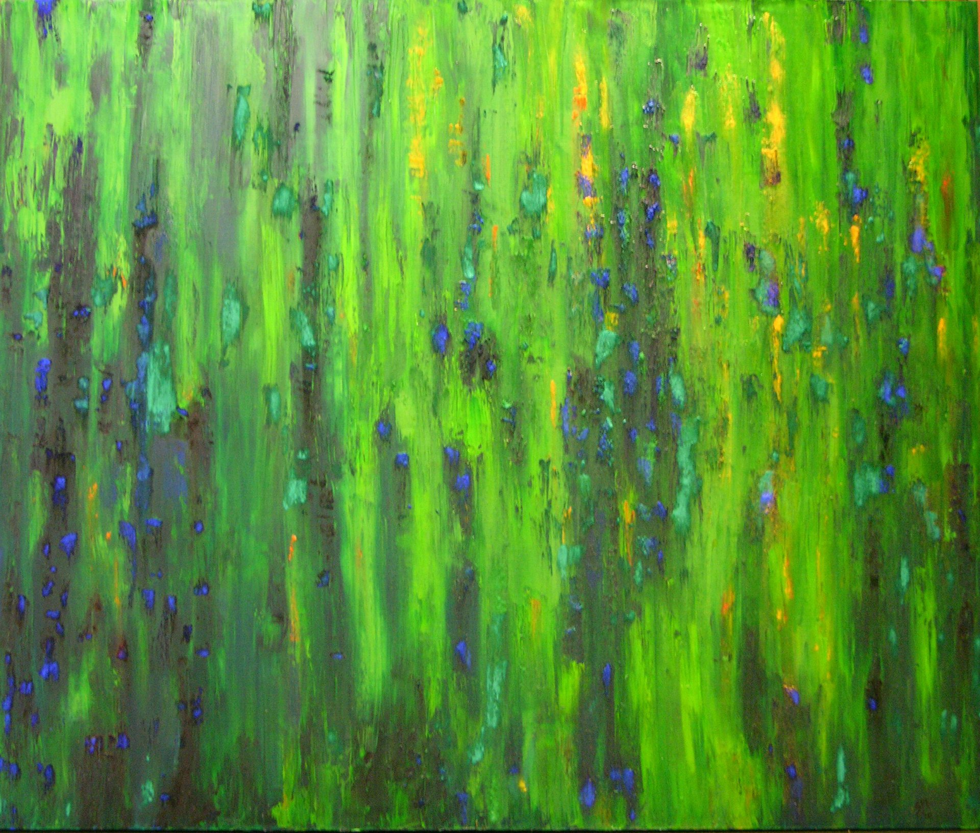 Meadow Serenity oil and dried pigments on canvas painting by Sabrina Puppin