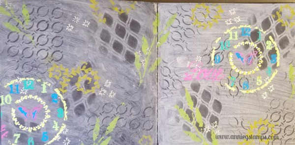 Train Stencils and Gel Pens Pages