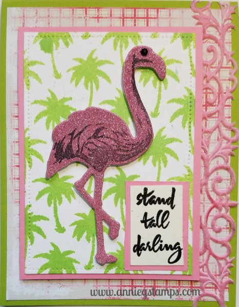Glitter Flamingo Card