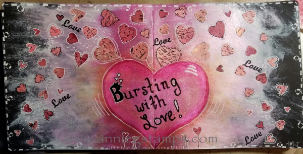 Bursting with Love Art Journal Spread