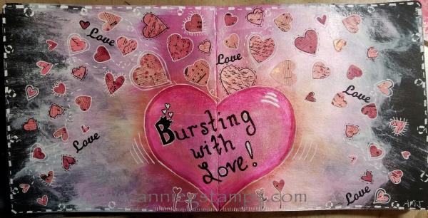 Bursting with Love Art Journal Spread