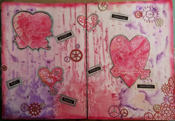 Valentine's Left_overs Art Journal Spread