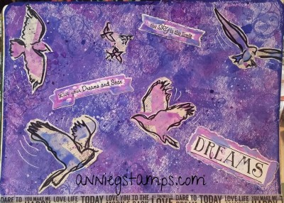 Dreams & Soar Art Journal page