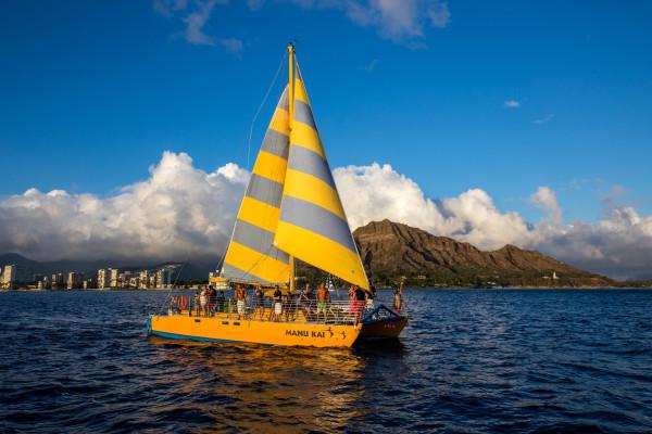 Sailing off of Diamond Head.