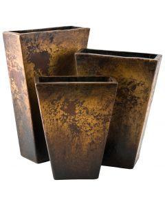 Antiqued Copper Rectangular Conic Vases