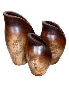 Natural Brown Fat Tulip Jars
