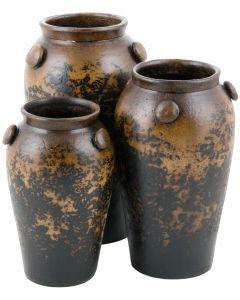 Textured Black Button Jars