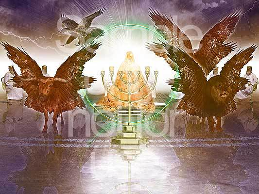 Throne in Heaven, G-D, Cherubim, elders, praise and worship, Revelation, prophecy