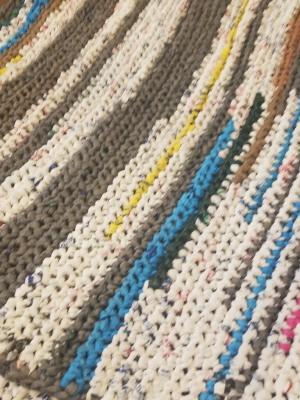 environmentally friendly macrame rug made of reused plastic bags