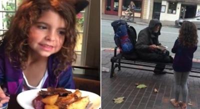 Criança vai até a calçada de restaurante e oferece a um morador de rua a própria comida