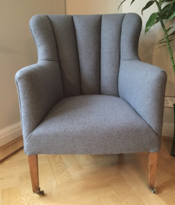 Traditional Fluted armchair in Camira Blazer Aberlour wool