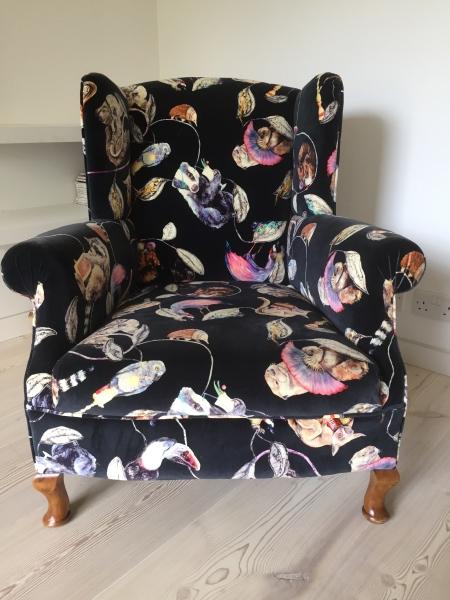 Victorian Wing back armchair in House of Hackney Hackney Empire velvet