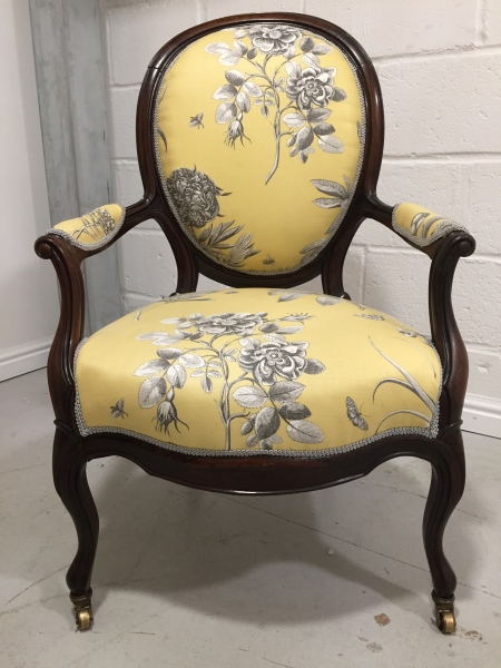 Traditional Victorian nursing chair in Sanderson Parchment Flowers