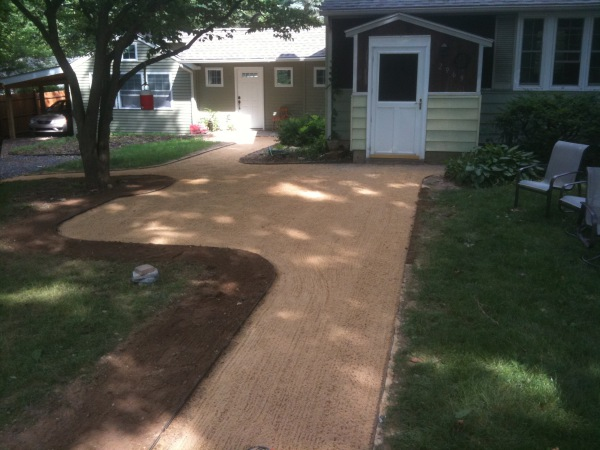Walkway with attached Patio