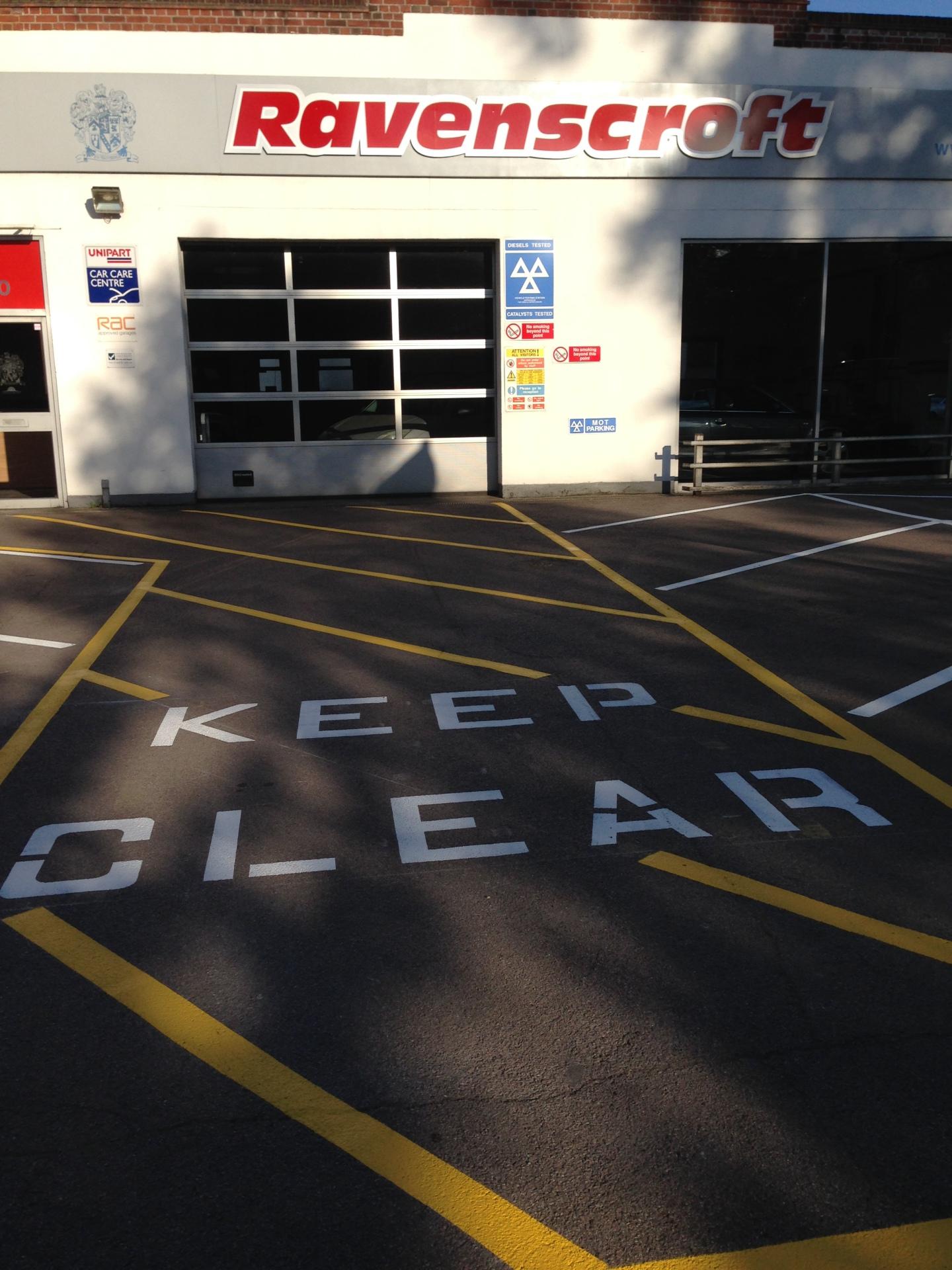 Car Park Markings - Ravenscroft Garage, Fleet Hampshire
