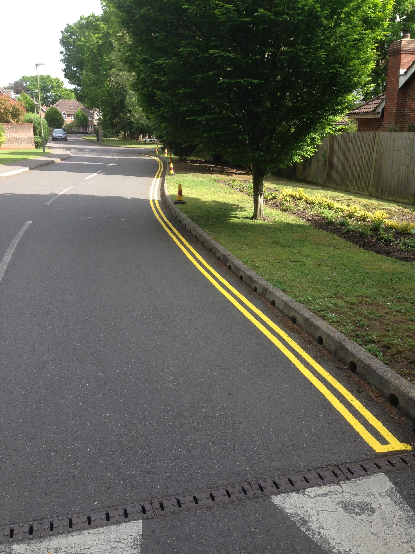Yellow line road markings - Mytchett, Surrey
