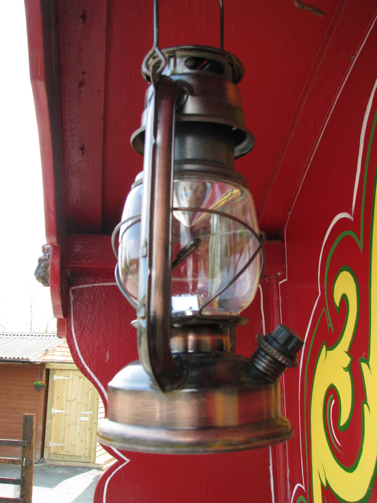 old style lantern on gypsy caravan at valley view rhayader
