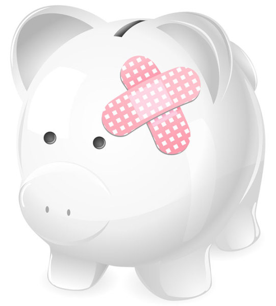 Poor piggie. A surprise home repair broke the bank.