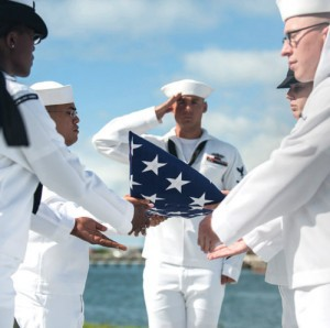 The family of Pearl Harbor survivor Lt. Cmdr. Karl C. Gresowski commits his ashes to the sea.