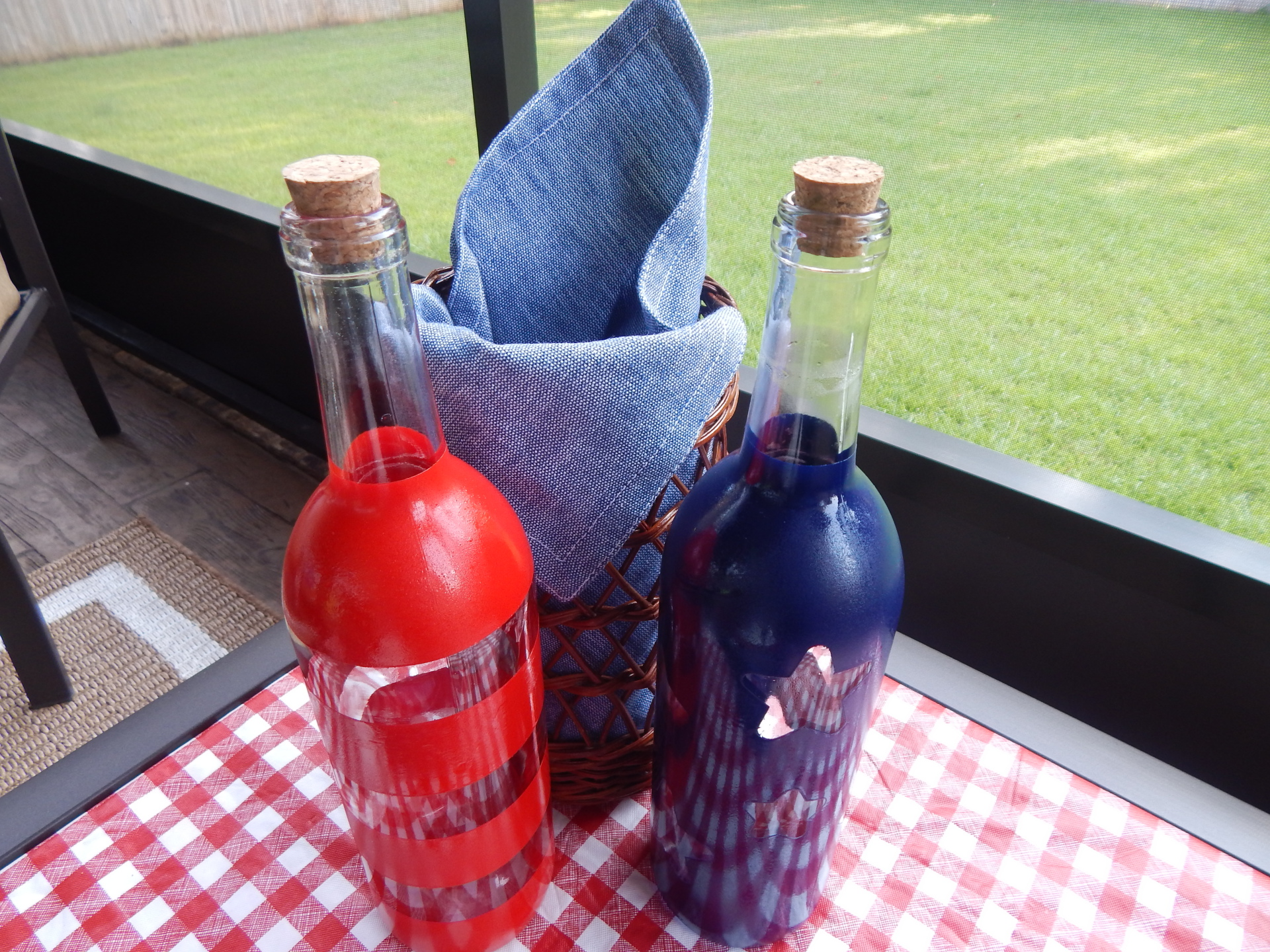 Add  Stars and Stripes To Old Wine Bottles