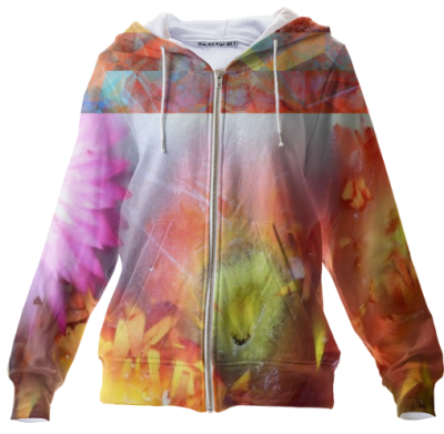 V-ALLURE Marble Flower, Zip Up Hoodie, clothes, flowers