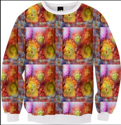 V-ALLURE Marble Flower, Ribbed Sweatshirt, Digital prints,