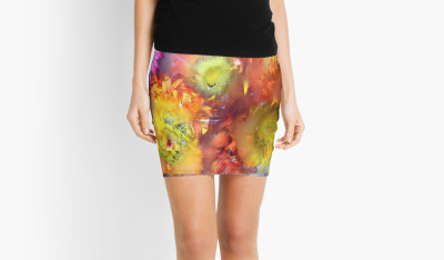 V-ALLURE Marble Flower, Mini Skirt, Digital Print