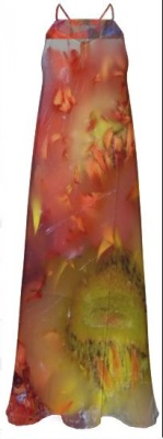 V-ALLURE Marble Flower, Chiffon Maxi Dress, Digital Print