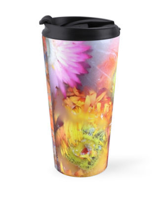 V-ALLURE Marble Flower, Travel Mug, Digital Print