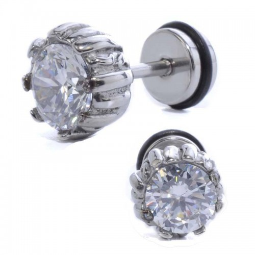 Clear Stone Fake Plug-In Ear Pierce , Ear Studs