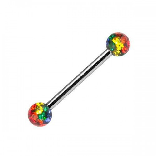 Rainbow Balls Barbell Body Jewellery, Body Piercing