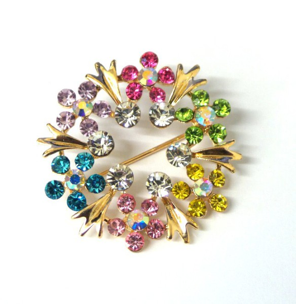 Multi-Coloured Floral Design Dimante, Brooch