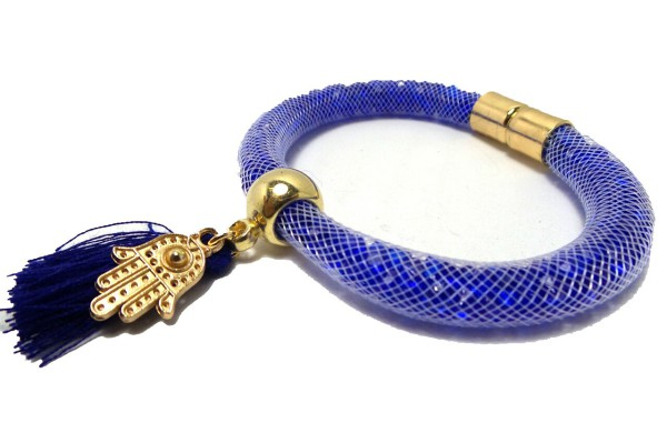 Crystal Blue Bracelet with Hand of Fatima Charm and Tassle, Bracelet