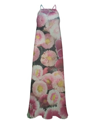 Pink Flowers,  Chiffon Maxi Dress
