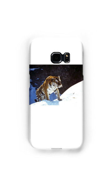 tiger, snow, mountains, accessories, animals, Samsung Cases