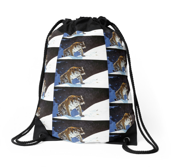 tiger, snow, mountains, accessories, animals, Drawstring Bag
