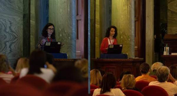June 2018 - Eva (left) and Cristina (right) talk at Int. Conference