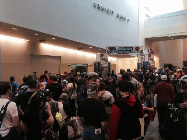 The line for the vendor hall.