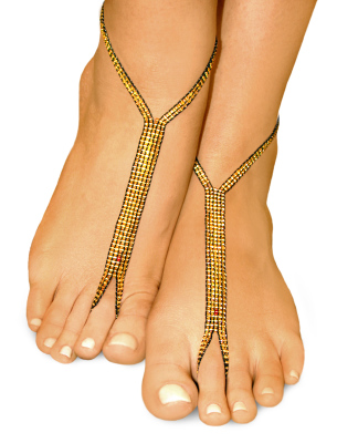 gold nude shoe barefoot sandals