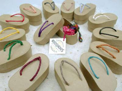 paper mache sandal box nude shoe