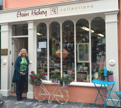 Etain standing outside Etain Hickey Collections, Clonakilty