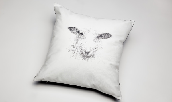 Embroidered Sheep Cushions by Niamh O'Connell